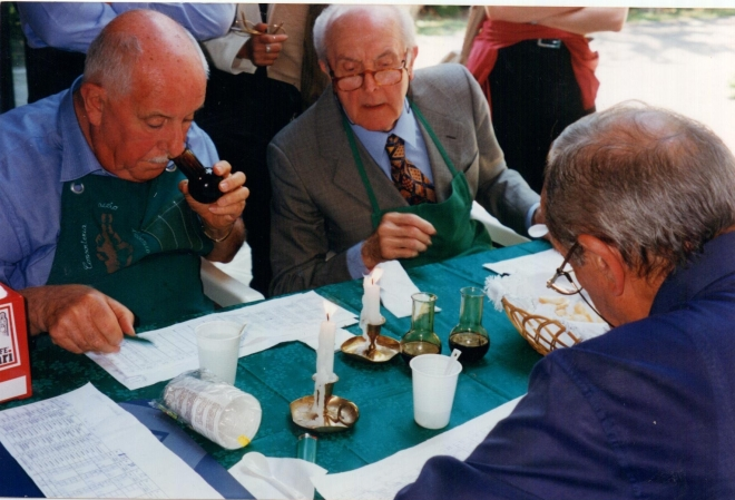 Judges in Modena tasting and certifying the Balsamico.