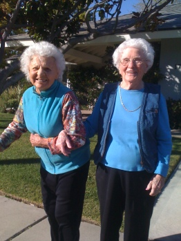 Mom and her first friend ishe met in America in 1932, my sister's mother in law, going for a walk at age 100 and 102.