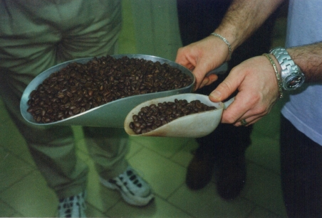 Danielle showing the two different beans and percentage used in their blends