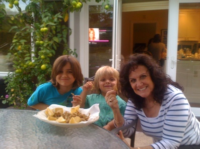 12 Grandma Lucy with Dante and Luca enjoying fried smelts.