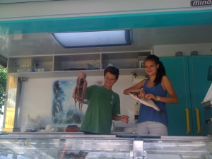 6. Laila and Bo buying fish they will clean and cook