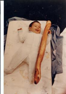Food culture must begin at an early age. Michelle at 3 months old.