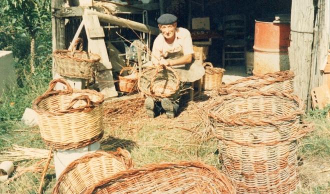 Pietro weaving his baskets