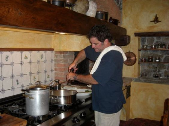 Mark, our first  bus boy  in the 70's, now cooking in our farm kitchen for our guests