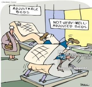 Adjustable beds, not very well adjusted beds.